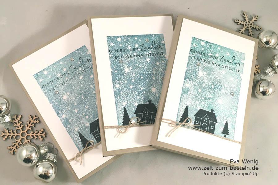 Adventskalender To-Go sind schnell gestaltet, hier mit Bokeh Dots und Weihnachten daheim (Stampin Up) - www.zeit-zum-basteln.de