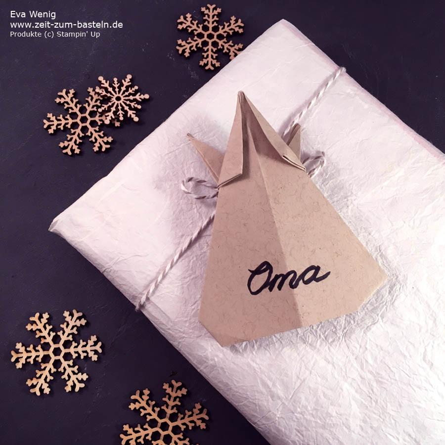 Video-Tutorial: Origami-Engel falten - schnelle Deko Idee zu Weihnachten - Stampin Up - www.zeit-zum-basteln.de
