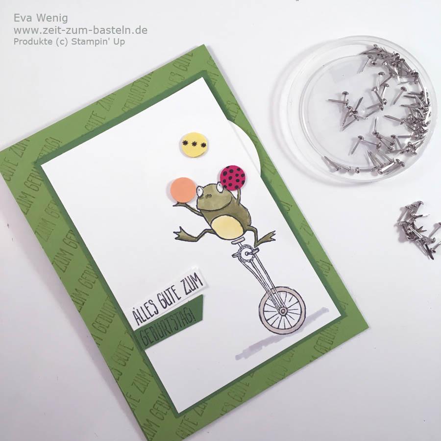 Video-Tutorial: Drehkarte Jonglierender Frosch - Lass die Bälle durch die Luft schweben - Stampin Up Froschkönig - www.zeit-zum-basteln.de