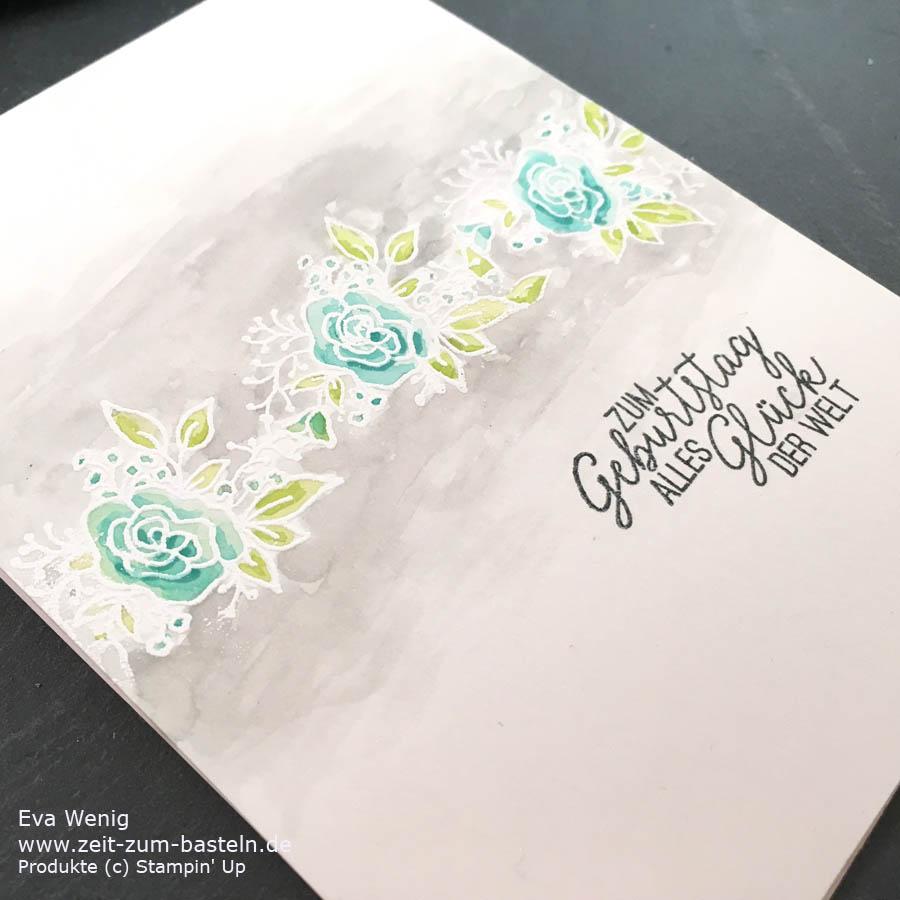 Aquarelleffekt mit Blüten von Gruß + Glück von Stampin Up - www.zeit-zum-basteln.de