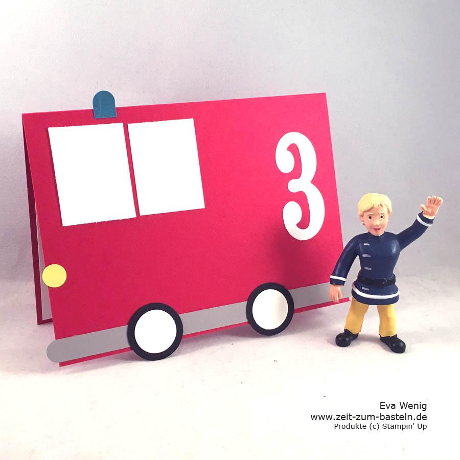 Mein kleiner Feuerwehrmann wird 3 und dazu gibt es eine passende Geburtstagskarte - www.zeit-zum-basteln.de