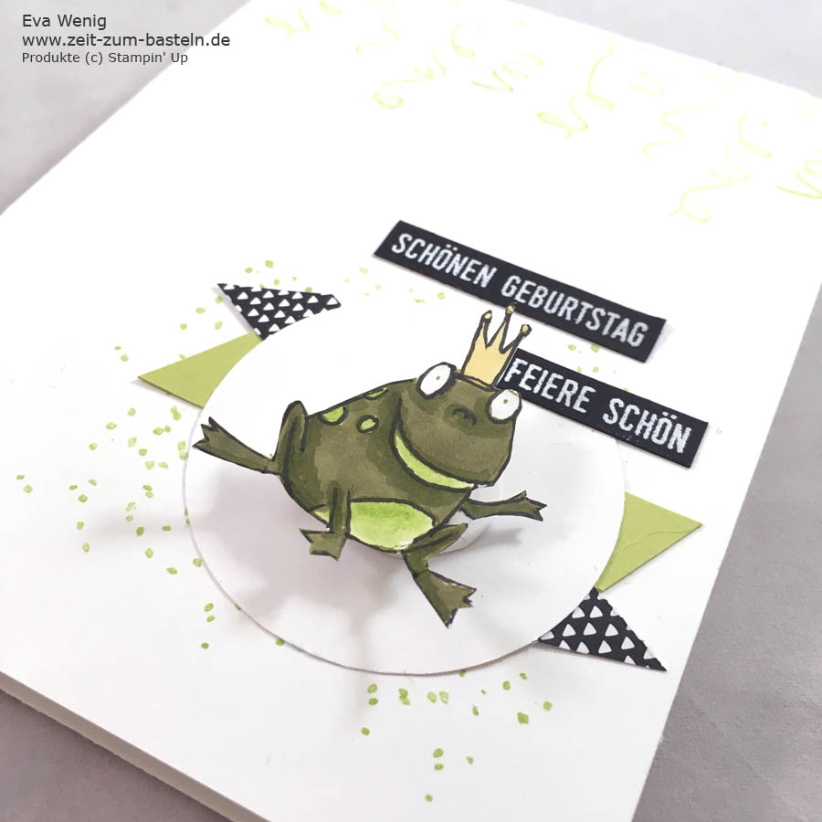 Wackelkarte Froschkönig für den fröhlichen Geburtstag! - Stampin Up - www.zeit-zum-basteln.de