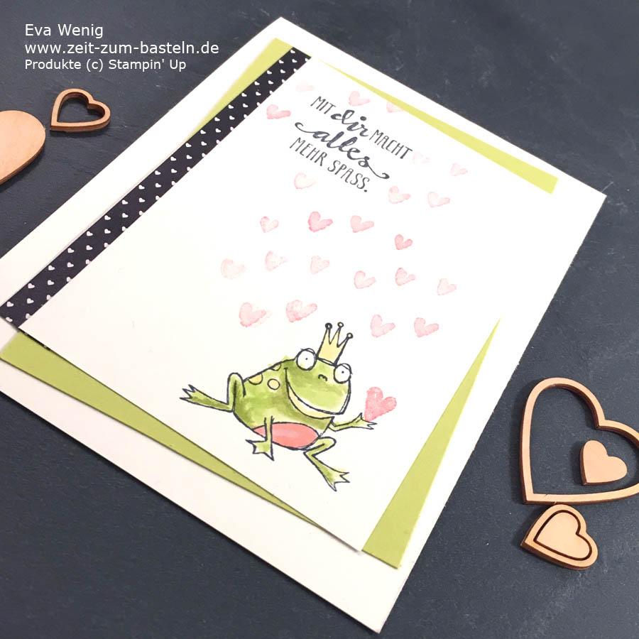 Valentinskarte 'Mit Dir macht alles mehr Spaß' mit dem Froschkönig! - Stampin Up - www.zeit-zum-basteln.de