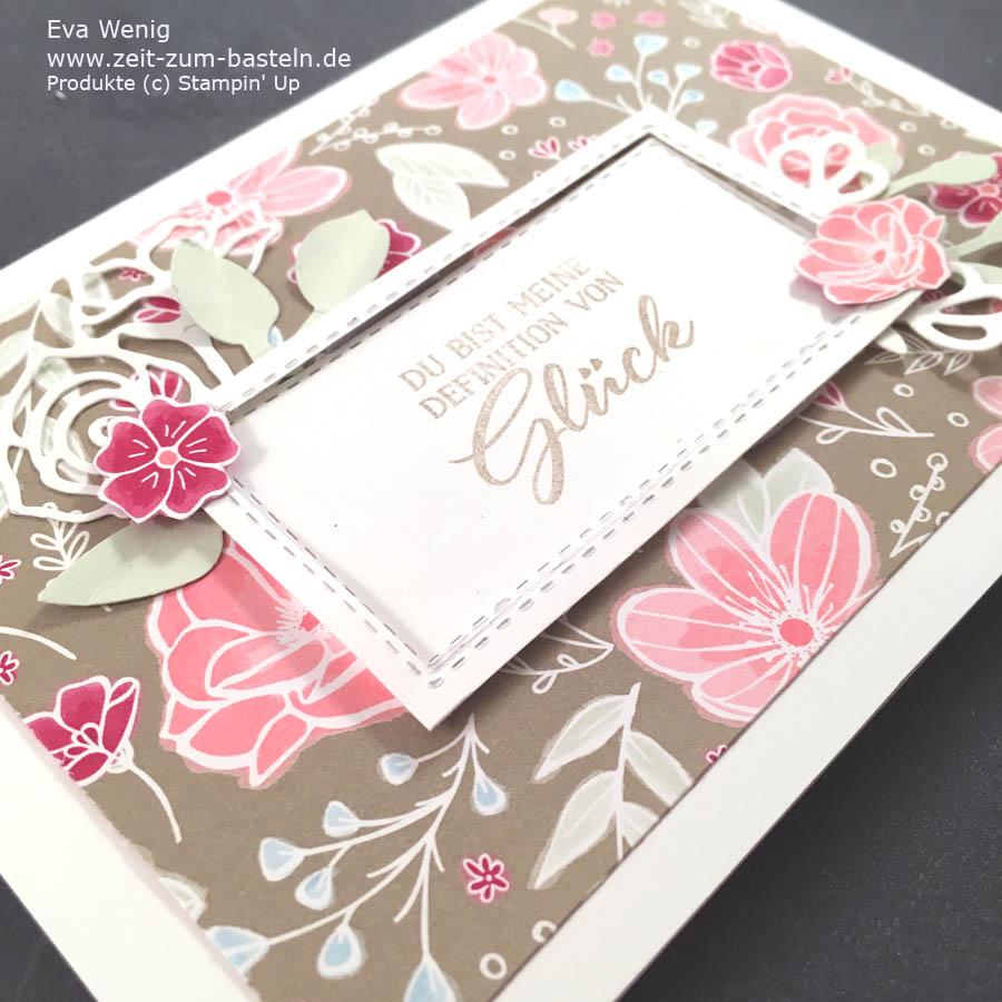 Verspielte Karte zum Valentinstag mit 'Definition von Glück' und dem passenden Designerpapier 'In Liebe' - Stampin Up - www.zeit-zum-basteln.de