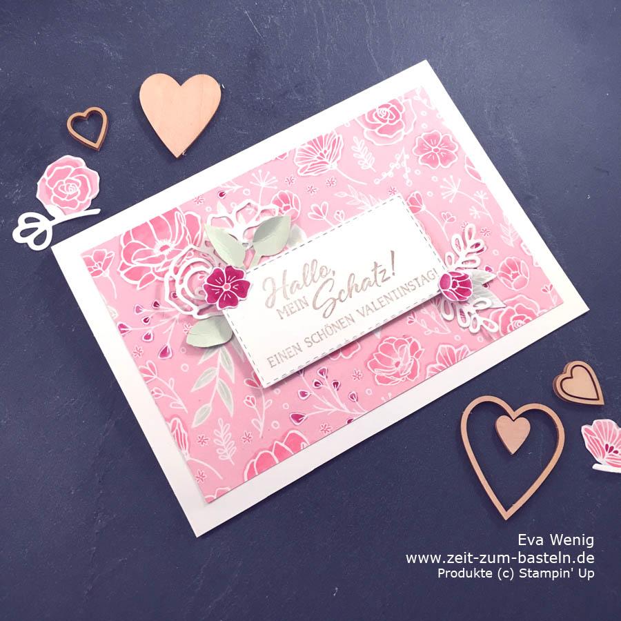 Ich liebe das neue Desginerpapier 'In Liebe'. Alles harmoniert so schön mit dem Stempelset + Stanzen 'Definition von Glück' - Stampin Up - www.zeit-zum-basteln.de