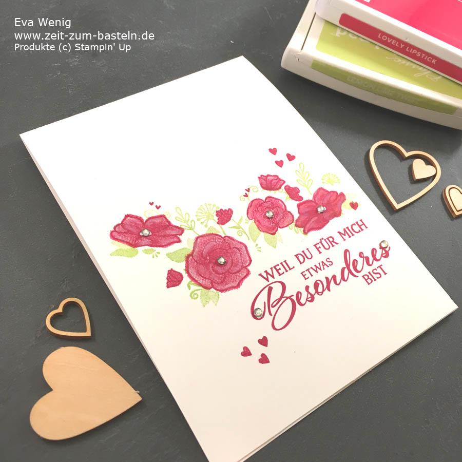 One-Layer geht immer mit 'Definition von Glück'- Karte zum Valentinstag - #simplestamping Stampin Up - www.zeit-zum-basteln.de
