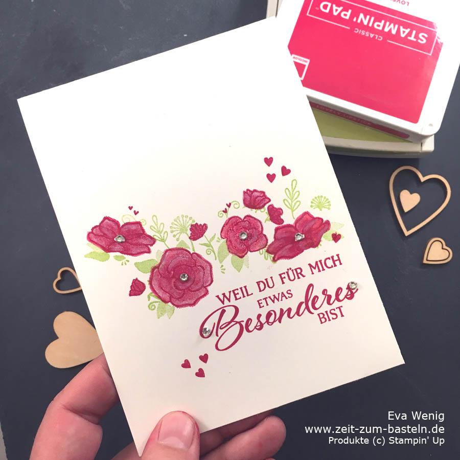 One-layer geht immer mit 'Definition von Glück - Karte zum Valentinstag #simplestamping - Stampin Up - www.zeit-zum-basteln.de