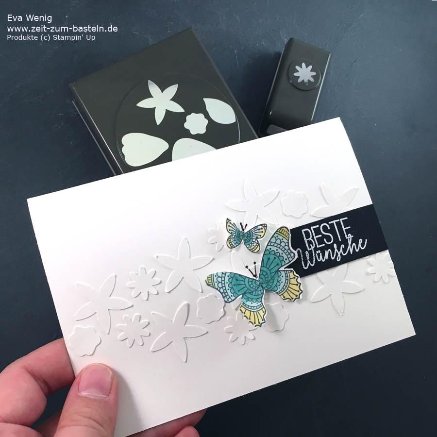 Hintergrundtechnik mit Stanzteilen - weiß auf weiß , Blütenlandschaft mit Schmetterlingsglück -Stampin Up - www.zeit-zum-basteln.de