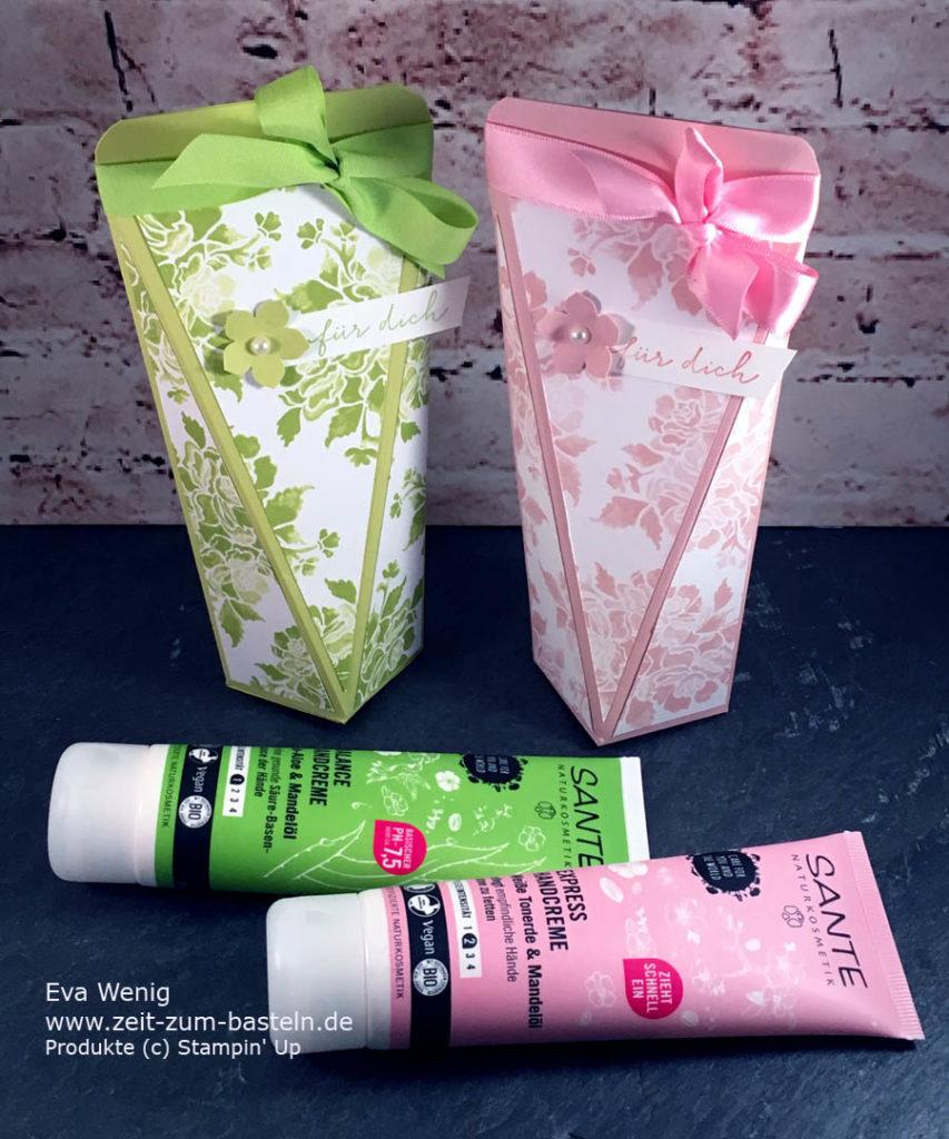 Für kleine Geschenke wie Handcreme, Duschcreme etc. finde ich diese selbstschließenden Boxen super praktisch - Stampin Up - www.zeit-zum-basteln.de