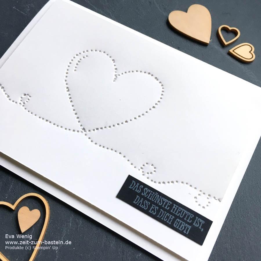 Valentinskarte geprickelt erklärt im kurzen Video-Tutorial  - Stampin Up - www.zeit-zum-basteln.de