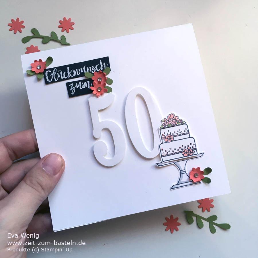 Moderne Karte zum 50sten Geburtstag. Viel weiß und ein paar Itty-Bitty-Blümchen - Stampin Up - Kuchen ist die Antwort - www.zeit-zum-basteln.de