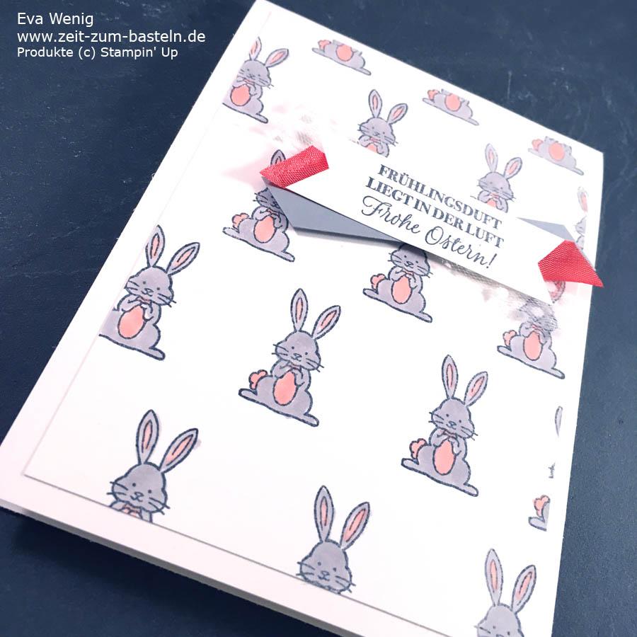 Ein CASE von Stesha Bloodhart - eine schöne Idee einen Hasenhintergrund zu machen. Koloriert sind sie mit Stampin Blends - Hasengrüße von Stampin Up - www.zeit-zum-basteln.d