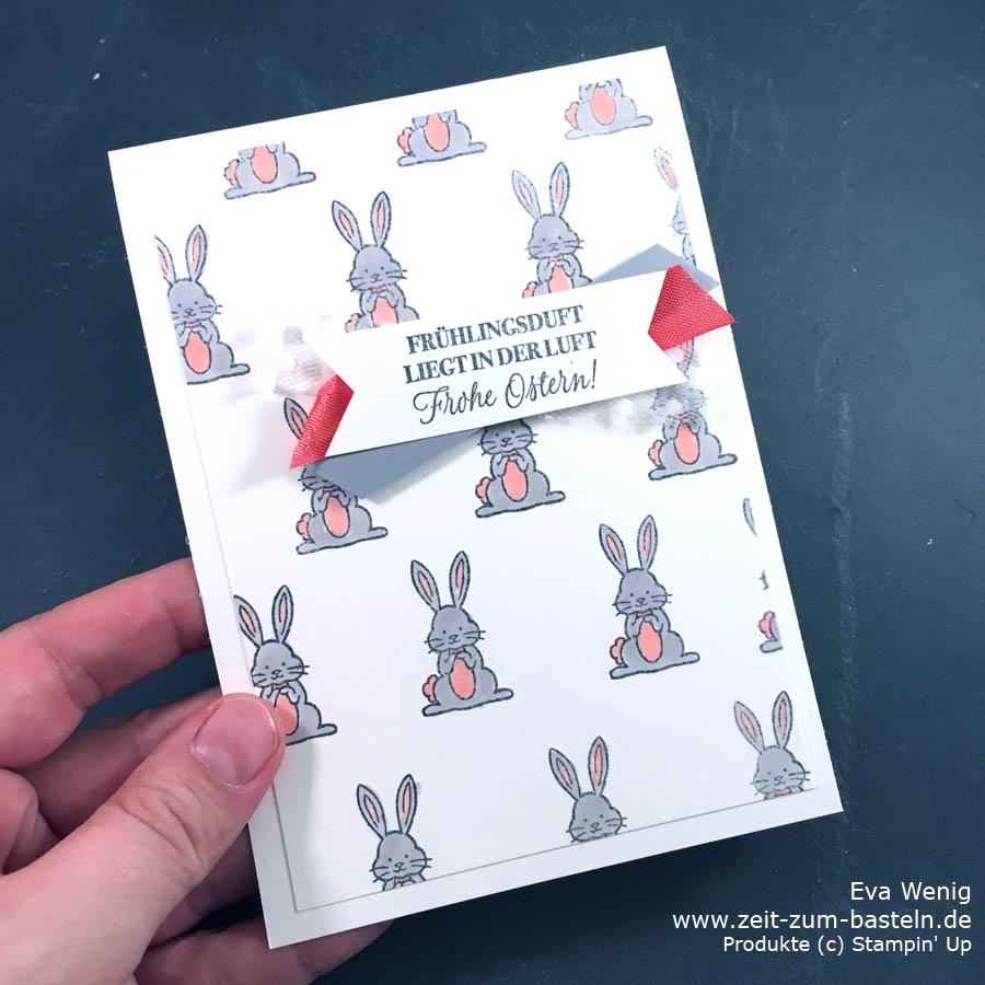 Ein CASE von Stesha Bloodhart - eine schöne Idee einen Hasenhintergrund zu machen. Koloriert sind sie mit Stampin Blends - Hasengrüße von Stampin Up - www.zeit-zum-basteln.de