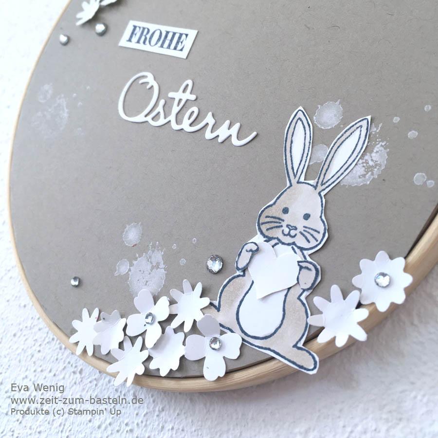 Stickrahmen! Bin grad voll im Fieber! Mein erster ist zum Thema Ostern mit Itty-Bitty-Blümchen und Hasengrüße - Stampin Up - www.zeit-zum-basteln.de