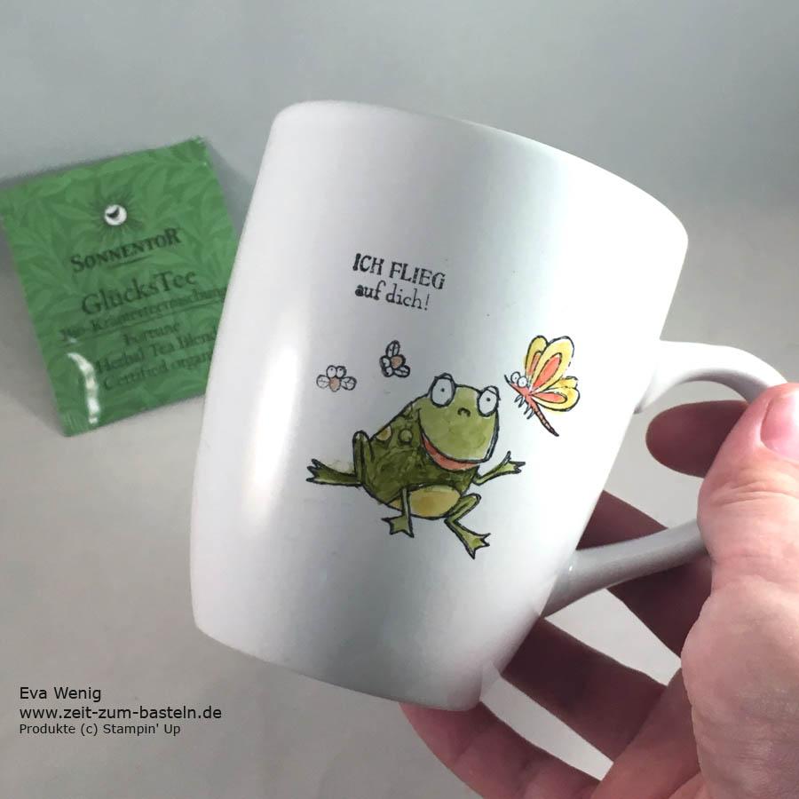 Tassen bestempeln? Ja, das geht. Heute habe ich das Stempeln auf Tassen mit dem Set Froschkönig ausprobiert - Stampin Up - www.zeit-zum-basteln.de