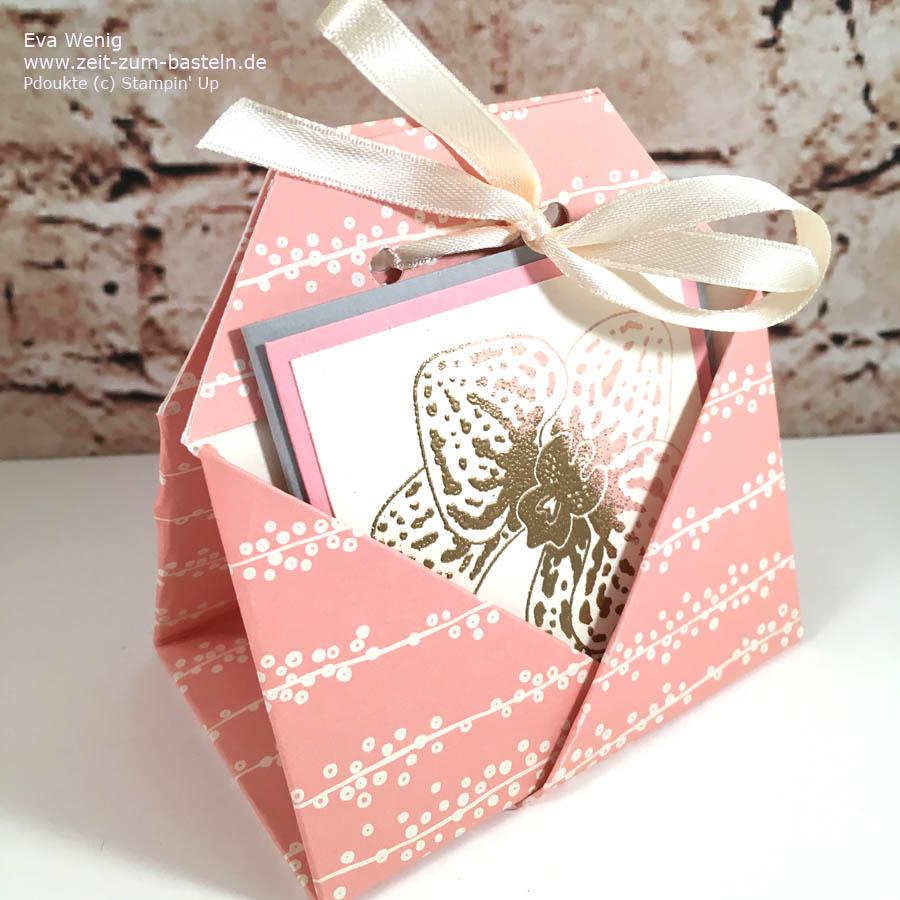 Teebeutel-Falt-Verpackung mit einem schnellen Orchideen-Kärtchen - Stampin Up - www.zeit-zum-basteln.de