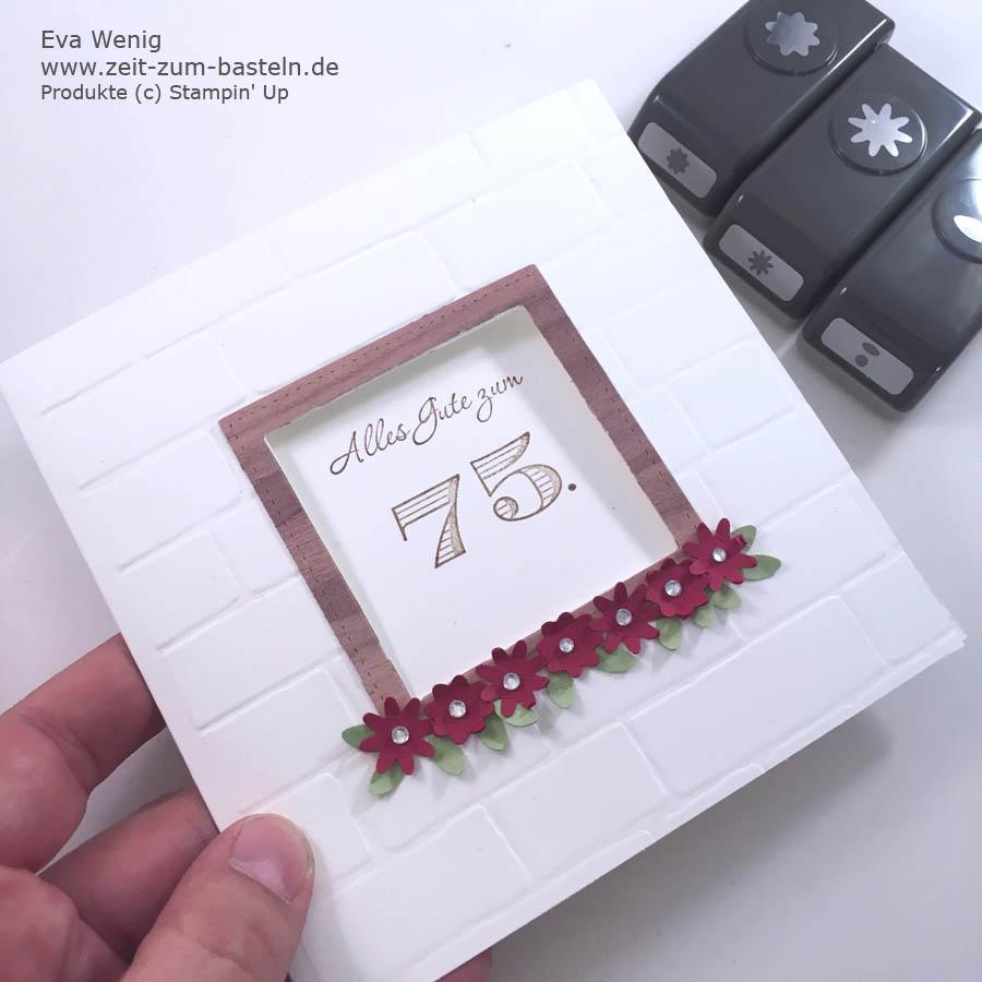 Karte zum 75. Geburtstag - Fun-Fold-Card mit Mauer & Fenster - Optik - Stampin Up - www.zeit-zum-basteln.de