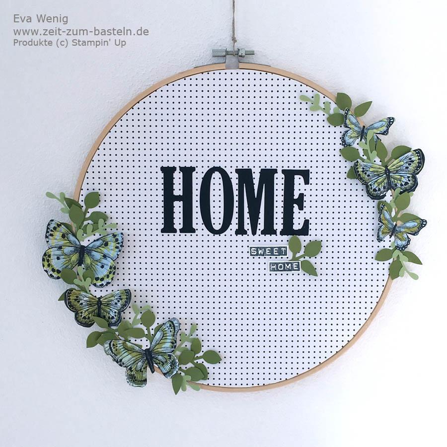 Frühlingshafter Deko-Stickrahmen für zu Hause 'HOME Sweet HOME' - Mit Desginerpapier von Stampin Up  - www.zeit-zum-basteln.de