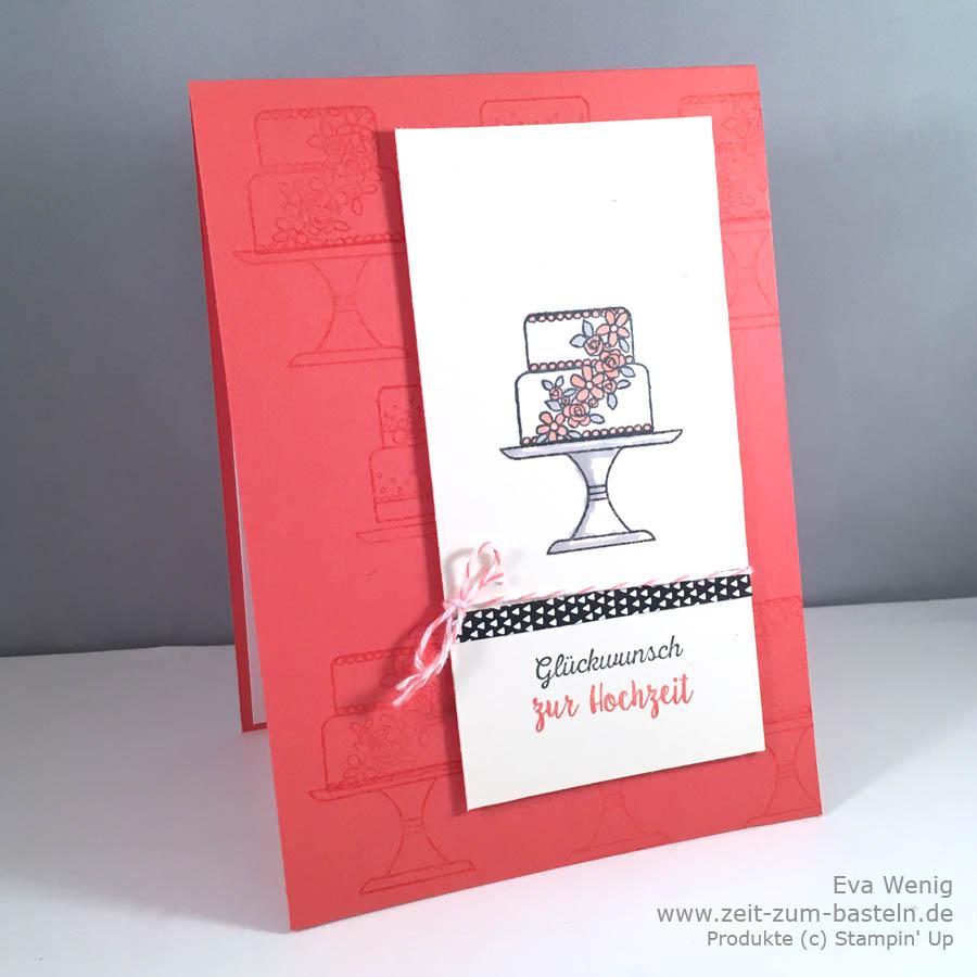 Hochzeitskarte a al Amy - mit Kuchen ist die Antwort von Stampin Up - www.zeit-zum-basteln.de