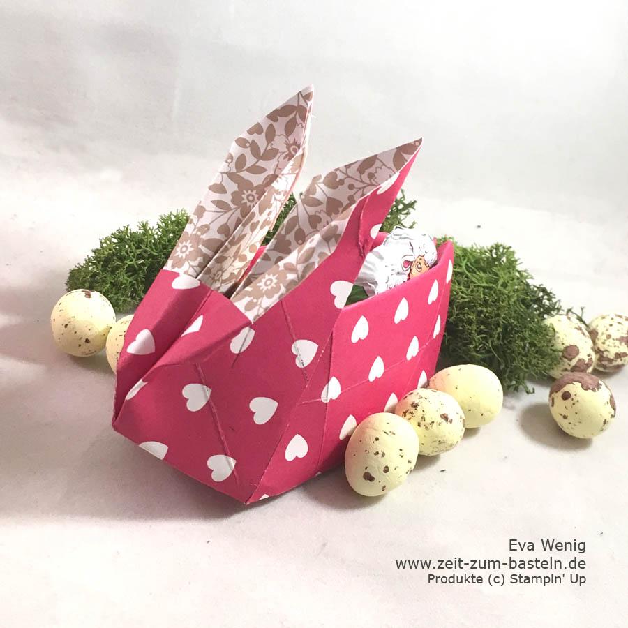 süße Origami-Hasen als Goodie - Hasen falten und die Box mit Leckereien füllen, sogar als Eierbecher nutzbar - Stampin Up - www.zeit-zum-basteln.de