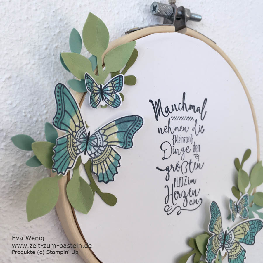 Frühlingshafter Stickrahmen mit Schmetterlingsgruß - Stampin Up - www.zeit-zum-basteln.de
