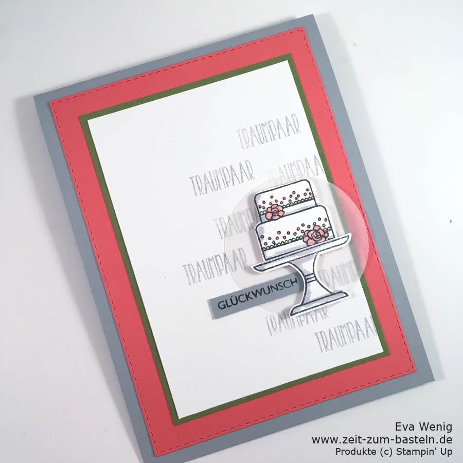 Hochzeitskarte a la Brian King mit dem Set Kuchen ist die Antwort (Stampin Up) - www.zeit-zum-basteln.de
