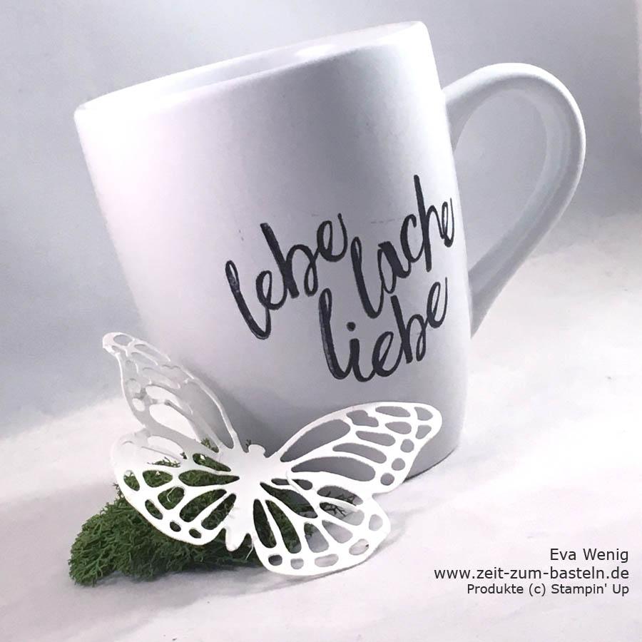 gestempelte Tasse zum Muttertag ' Lebe Liebe Lache' - Stampin Up - www.zeit-zum-basteln.de