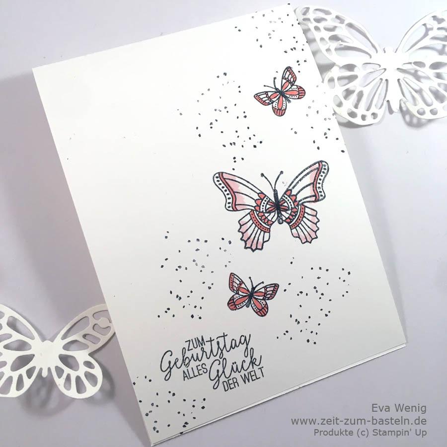 Clean & Simpel Geburtstagskarte mit Schmetterlingsgruß und Birthday Backrounds - Stampin Up - www.zeit-zum-basteln.de