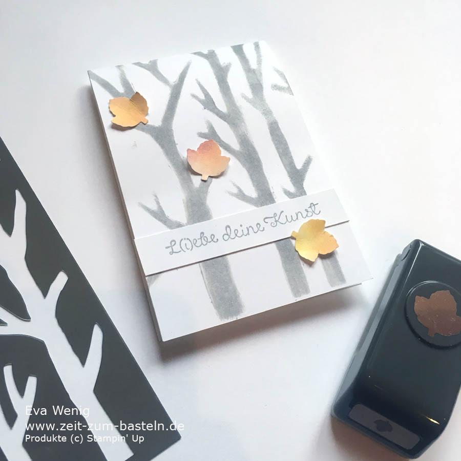 Kleine Grußkärtchen gestaltet mit Masken und Itty Bitty Blätter-Stanzen - Stampin Up - www.zeit-zum-basteln.de