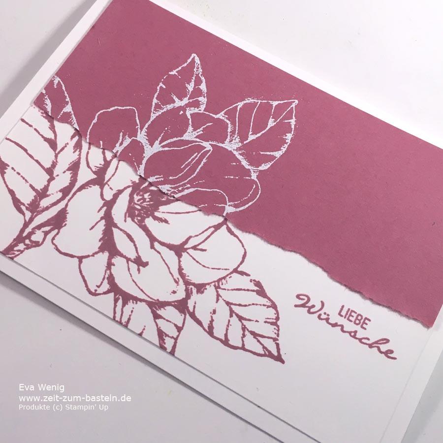 Zwei Karten mit einem Motiv - Negativtechnik mit Magnoliengruß (Stampin Up) . www.zeit-zum-basteln.de