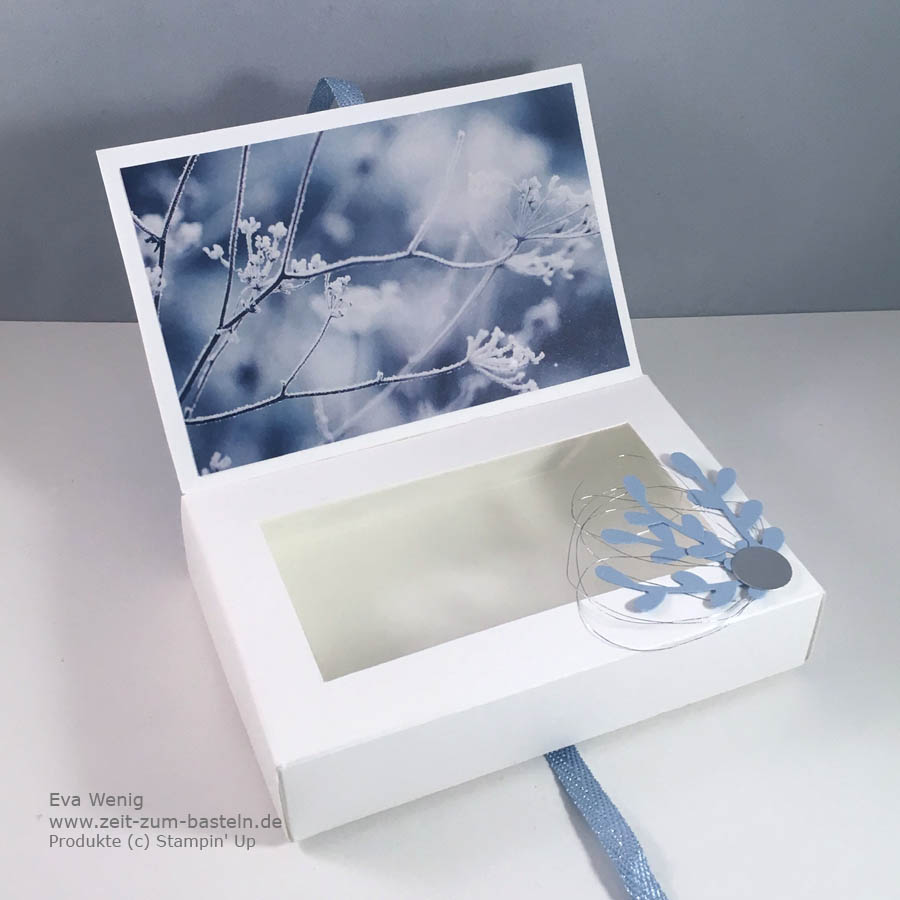 Winterliches Set aus Box und Karte mit dem Designerpapier Winterzauber von Stampin Up - www.zeit-zum-basteln.de