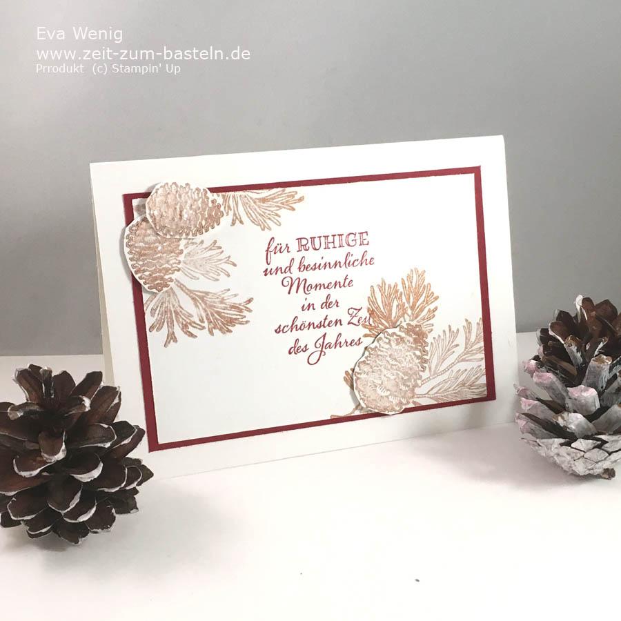 Weihanchtskarte mit Friedvolle Zweige mit Glitzereffekten - www.zeit-zum-basteln.de