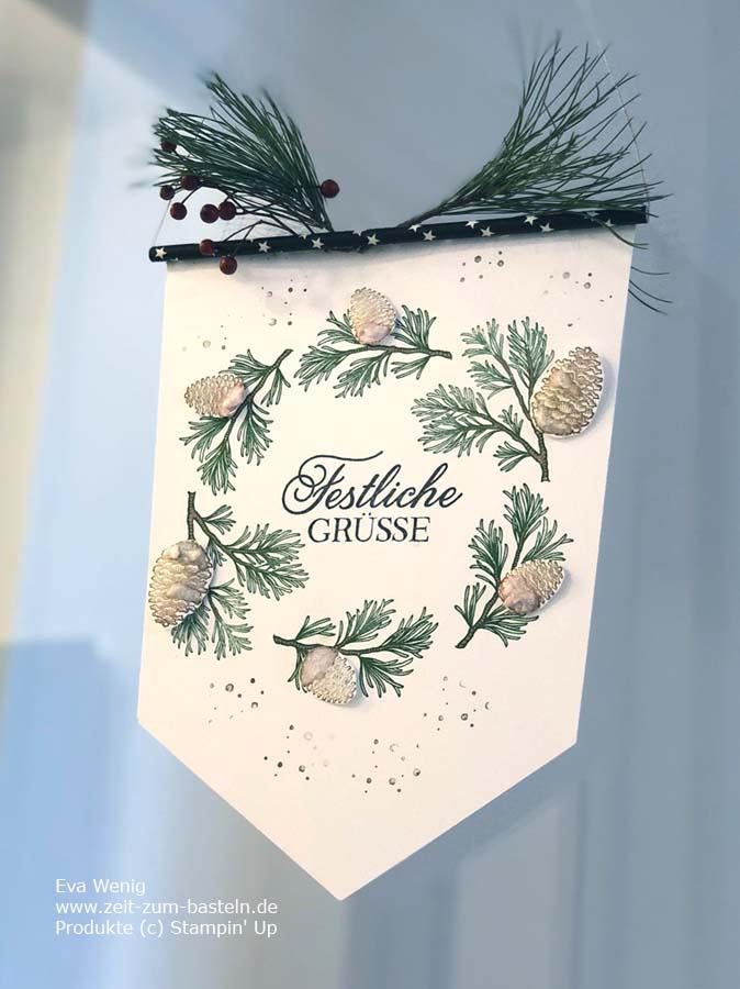 Weihnachtswimpel mit 'Friedvolle Zweige' von Stampin Up