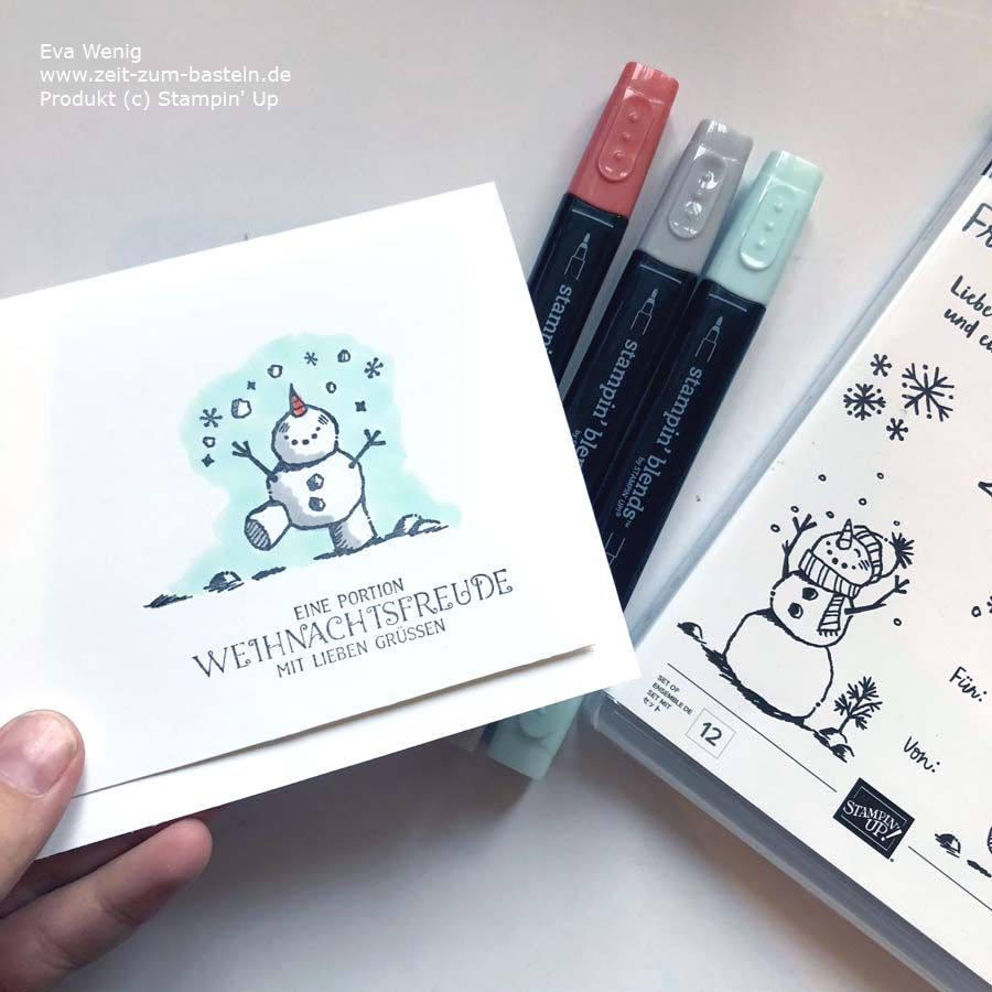 Süße Schneemannkarte mit Stampin Up - Frostige Grüße und 'Das Schönste zum Fest'