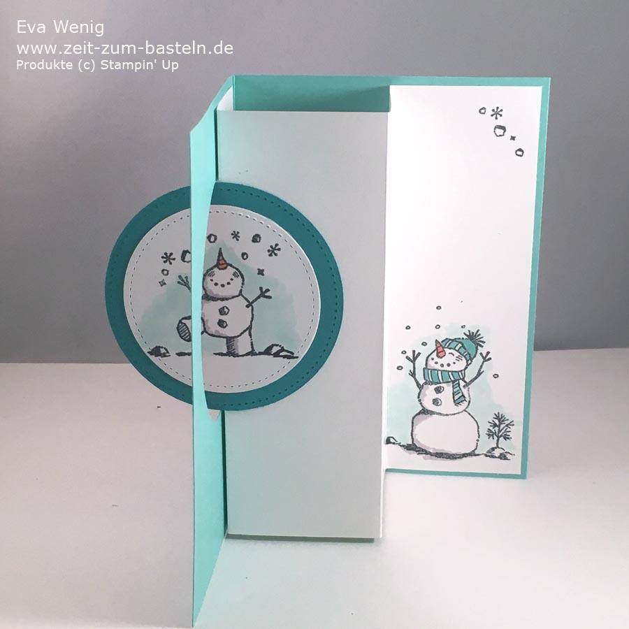 Pop-Up Drehkarte mit Frostige Grüße von Stampin Up