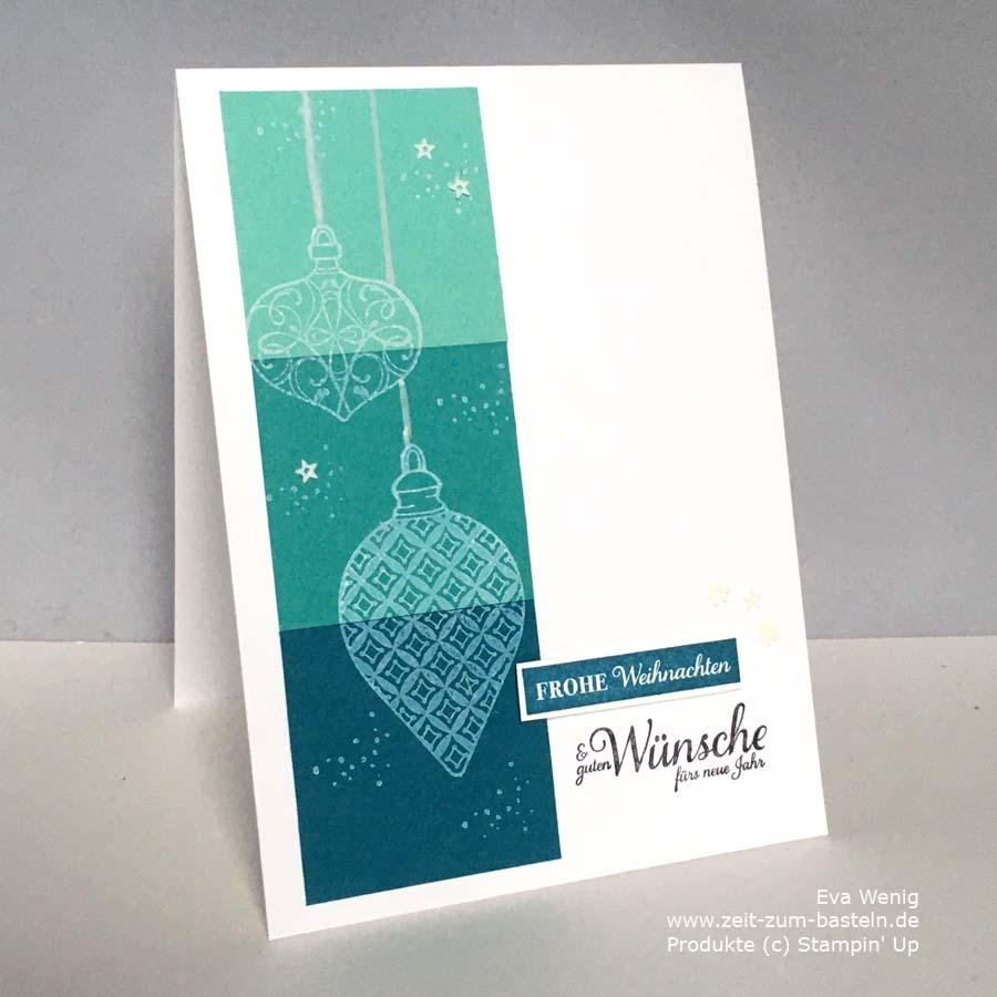 Restkarte mit weißer Crafttinte - Weihnachtskugeln im Festtagsglanz von Stampin Up
