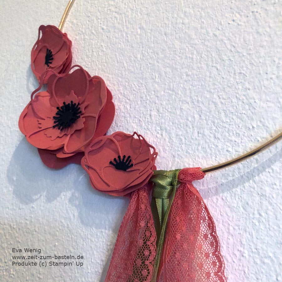 Blumiger Hoop mit Stampin Up Mohnblüten