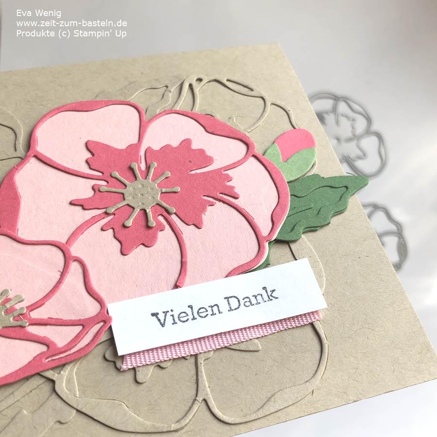 Karte mit gestanzten Mohnblüten (stampin up)