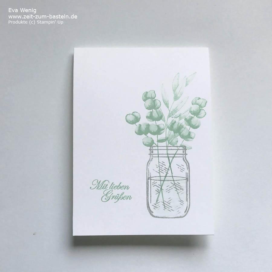 Karte mit 'Für alle Zeit' & Jar of Flowers von Stampin Up