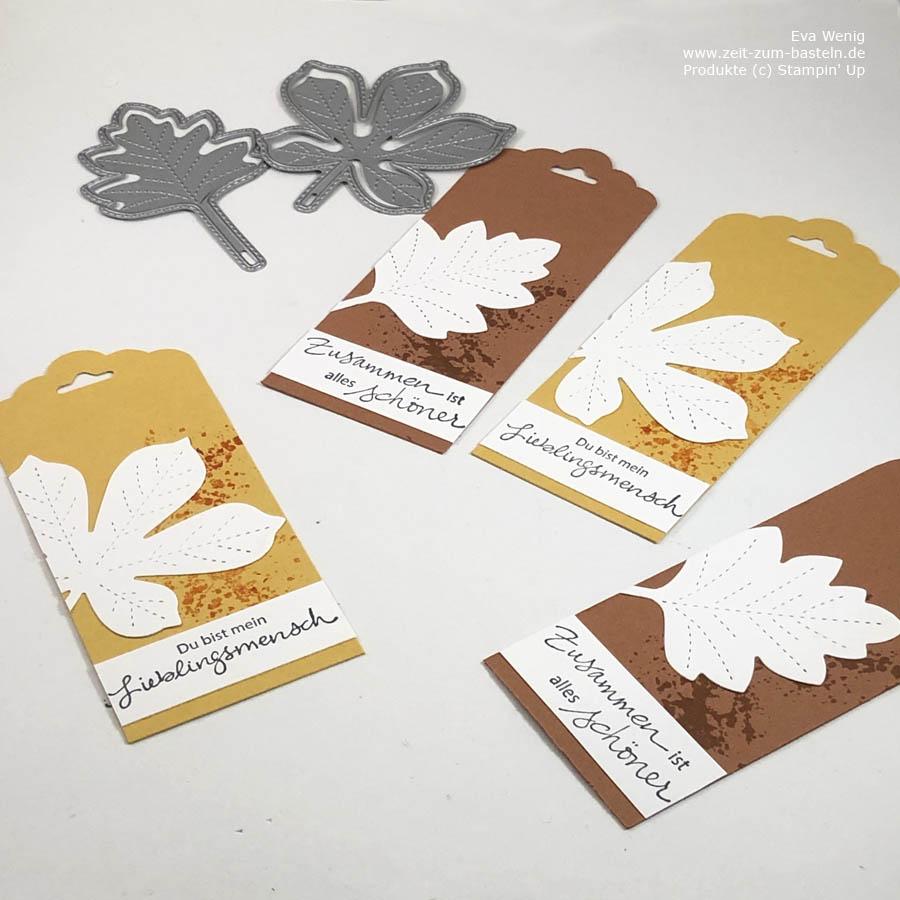 Herbstliche Tags mit 'Bestickte Blätter'  und 'Zauberhafte Grüße' von Stampin Up