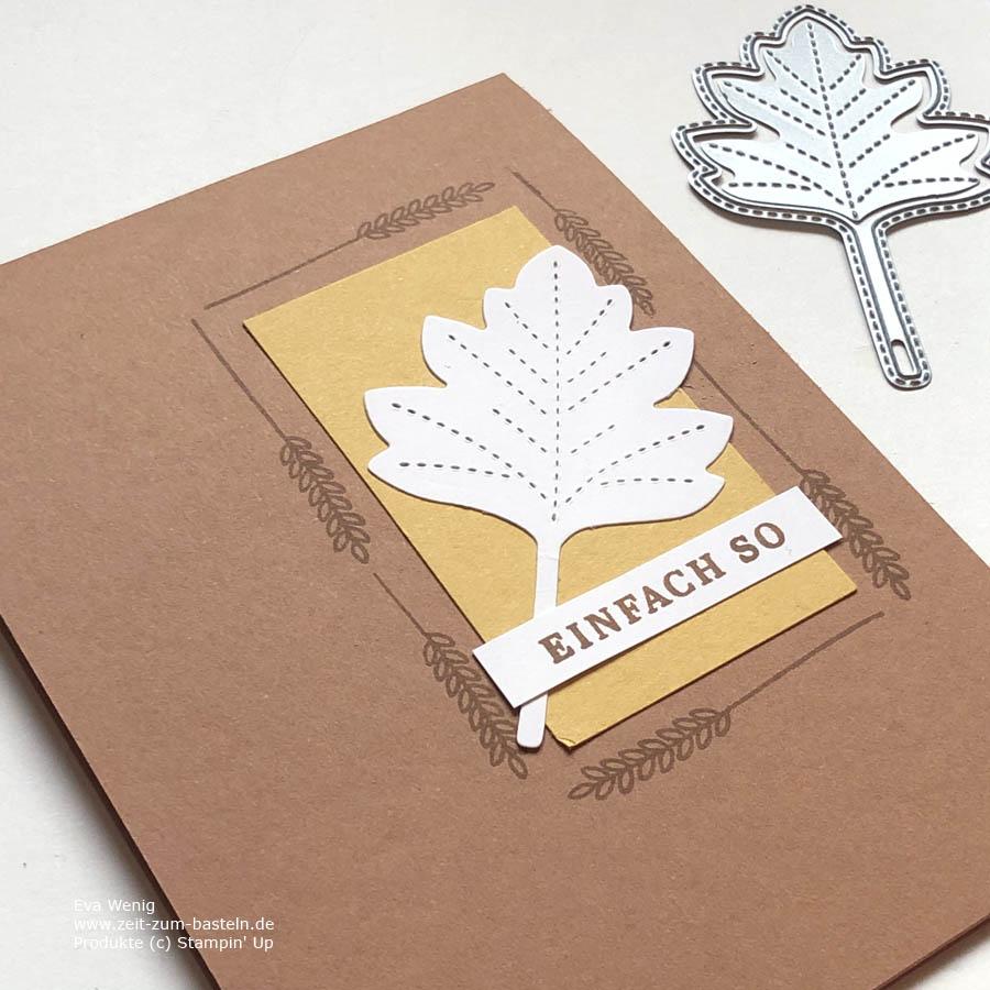 Herbstliche Karte mit 'Bestickte Blätter'  und 'Schöner Herbst' von Stampin Up
