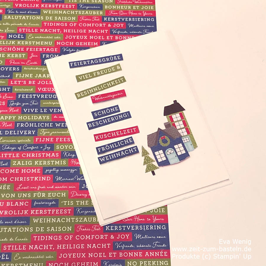 Karte mit Designerpapier Adventsstädtchen Stampin Up