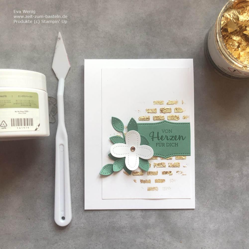 Die 12 coolsten Techniken mit Goldflocken - hier mit Dekoschablonen, Paste und Perforierte Blumen von Stampin Up