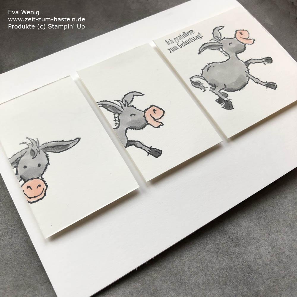 Geburtstagskarte mit Grüße auf vier Hufen von Stampin Up