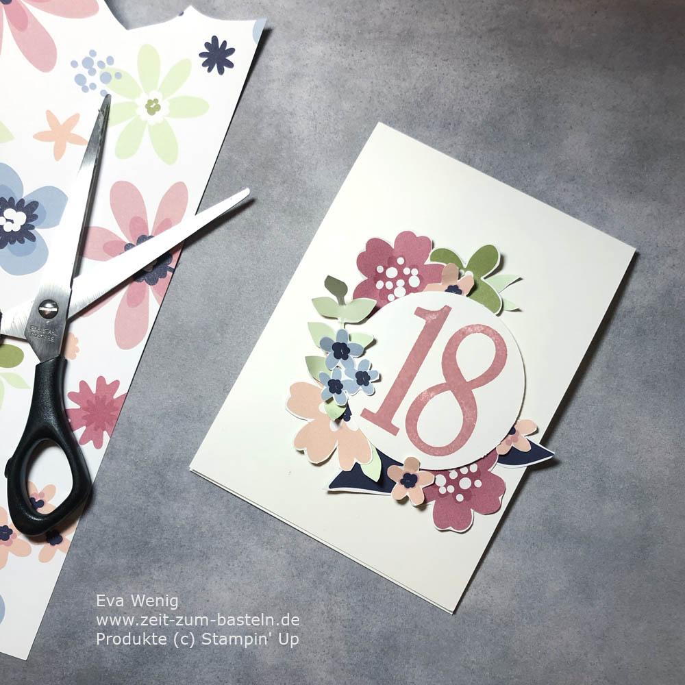 Glückwunschkarte zum 18ten mit DP Papierblüten