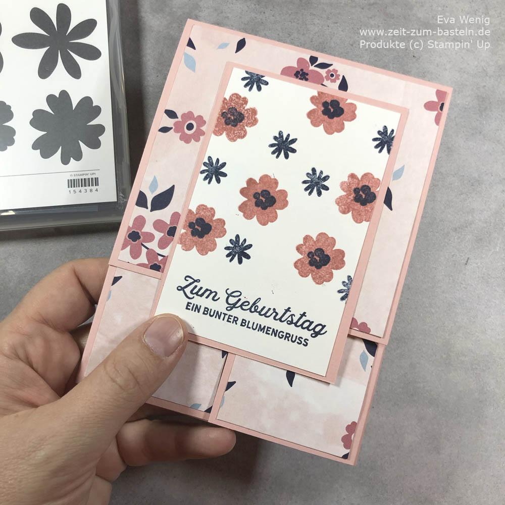 Dutch fold card mit DP Papierblüten und Videoanleitung
