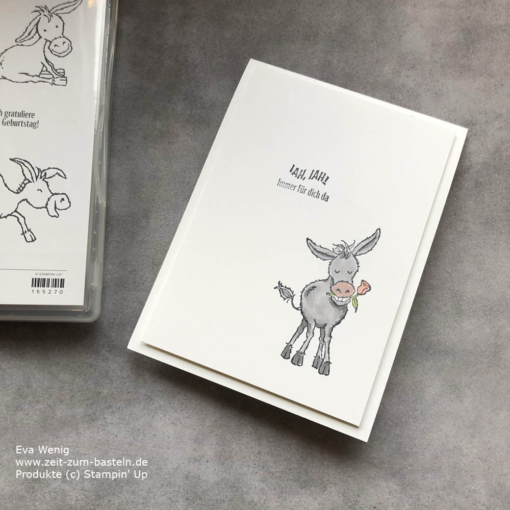 Freundschaftskarte mit Grüße auf vier Hufen von Stampin Up