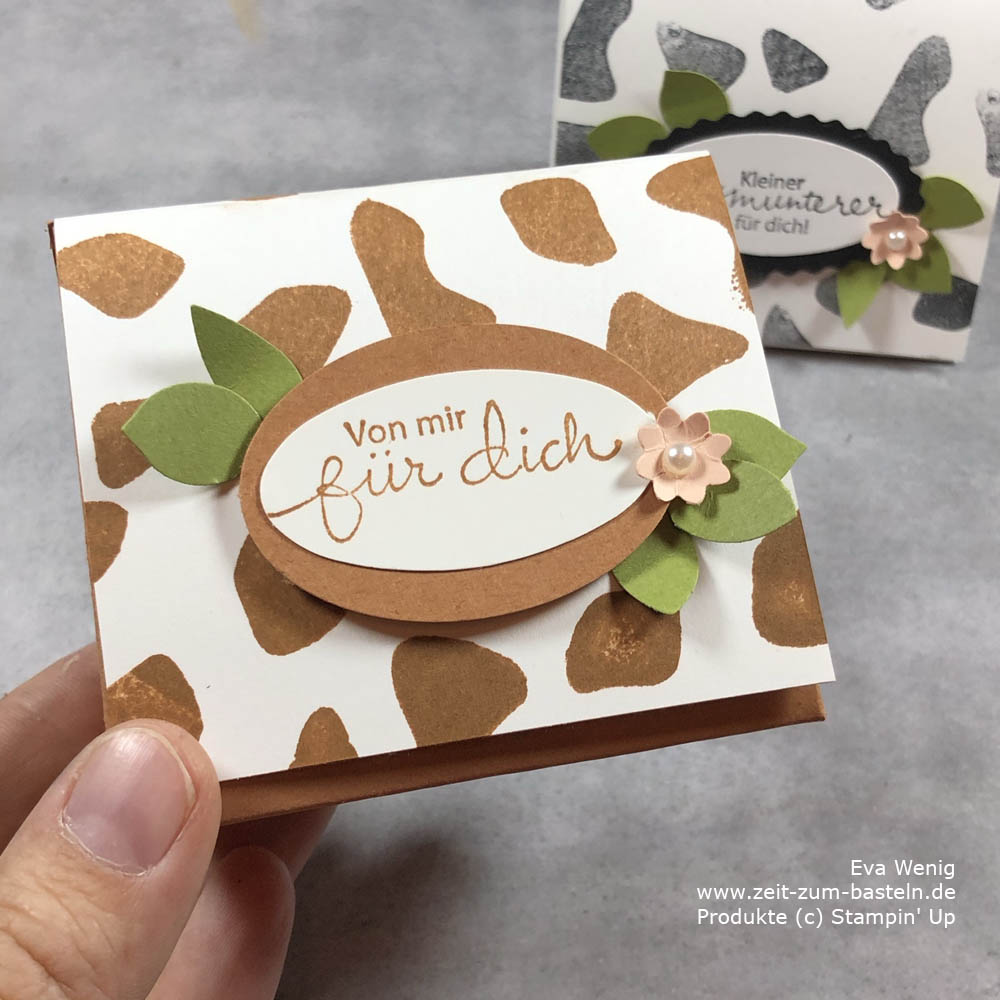 Animal prints mit Butterfly Brilliance Stampin Up Kuh Schachtel